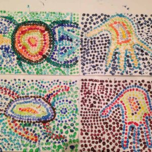 Painting in dots by a 7 & 9 years old children