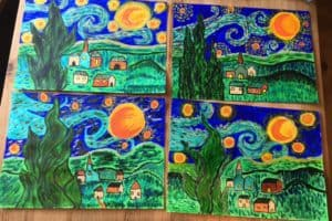 Van Gogh inspired artworks by children