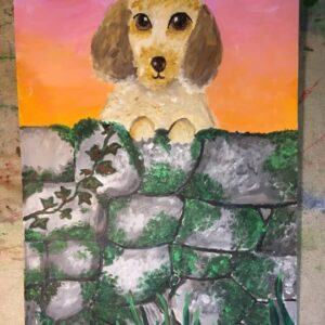 Puppy painting by an 9 years old child