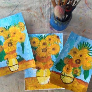 Van Gogh Sunflowers Paintings by kids, by Arty Amber