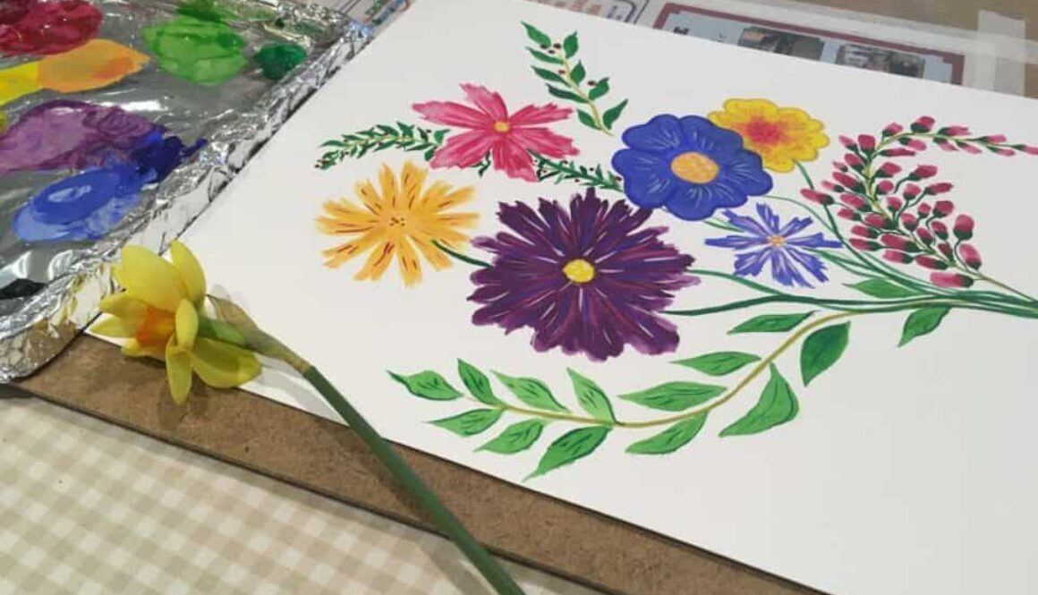 Adult art classes - flowers- by Arty Amber