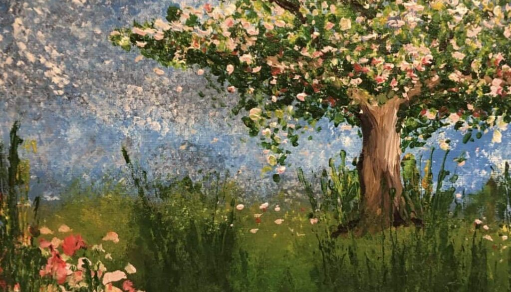 Spring tree in bloom oil paint by Arty Amber
