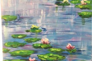 Water lilies paint made by kids at holiday art club